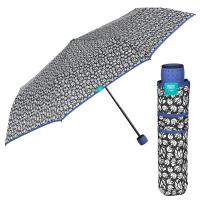 Черно-бял дамски чадър със синя дръжка и кант Perletti Time