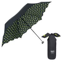 Малък портативен дамски сгъваем черен чадър Perletti Chic за пътуване