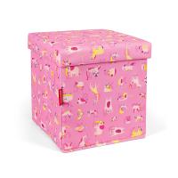 Детска табуретка с място за съхранение Reisenthel Sitbox Kids ABC Friends, розова