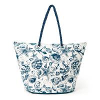 Голяма плажна чанта HatYou с морски дизайн в синьо и бяло