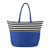 Синя плажна чанта с черно-бели райета HatYou