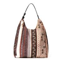 Кафява памучна плажна чанта с етно мотиви HatYou