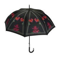 Луксозен черен дамски чадър с розови орхидеи Maison Perletti Dahlia