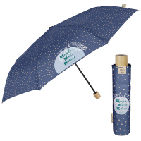 Дамски син неавтоматичен чадър на точки Perletti Green