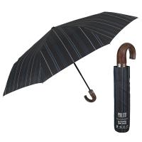 Изискан сив мъжки чадър с извита дръжка Perletti Technology
