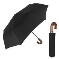 Черен мъжки сгъваем чадър с извита дървена дръжка Perletti Time