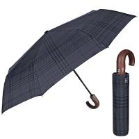 Изискан син мъжки чадър с извита дръжка Perletti Technology