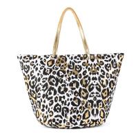 Плажна чанта с леопардов дизайн и златисти дръжки HatYou