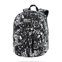 Черно-бяла раница за училище с графити CoolPack Discovery - Street Style