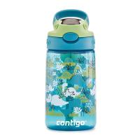 Детска бутилка за вода за момче в светлосиньо и зелено CONTIGO Easy Clean Динозаври, 420мл