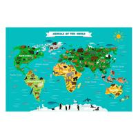 Детска скреч карта с животни Animals of the world