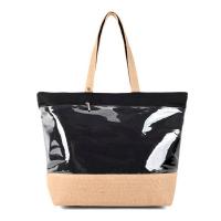 Голяма черна плажна чанта с голям прозрачен джоб HatYou