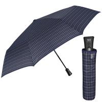 Изискан голям тъмносин мъжки чадър Perletti Technology, каре