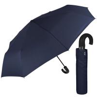 Изискан голям тъмносин мъжки чадър с извита дръжка Perletti Technology