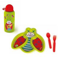 Детски комплект за хранене от чинийка, прибори и бутилка Oops, калинка