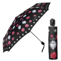 Луксозен дамски автоматичен сгъваем чадър Maison Perletti в черно