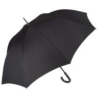 Изискан голям мъжки цял черен чадър с извита дръжка Perletti Technology