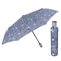 Двойноавтоматичен чадър Perletti Technology на цветя, син