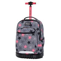 Стилна ученическа раница на колела в сиво и розово CoolPack Swift - Fancy Stars, момиче