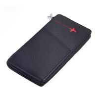 Черен кожен калъф за път с място за карти, самолетни билети, паспорт и документи TROIKA Red Pepper