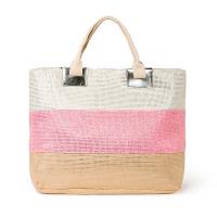 Дамска плажна чанта в розово, бежово и бяло със златни нишки HatYou