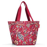 Червена дамска чанта за пазар с флорални елементи Reisenthel Shopper М, paisley ruby