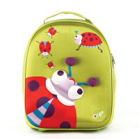 Малка зелена 3D раничка/куфар на колела за деца до 3-4 годишна възраст Oops Калинка