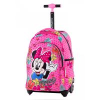 Детска розова раница на колела CoolPack Jack Minnie Tropical за момиче