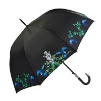 Голям луксозен черен дамски чадър Maison Perletti