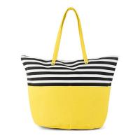 Жълта плажна чанта с черно-бели райета HatYou