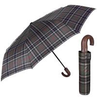 Стилен зелен мъжки чадър с извита дръжка Perletti Technology