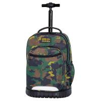 Зелена раница на колела за училище камуфлаж CoolPack Swift - Military Jungle